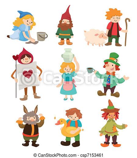 histoire, gens, dessin animé, icônes - csp7153461