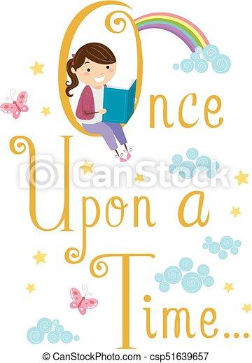 historia, stickman, ilustración, libro, lectura de la muchacha, niño - csp51639657