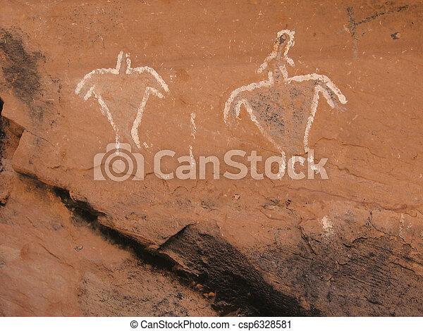 Historic Anasazi Figure Pictograms - csp6328581