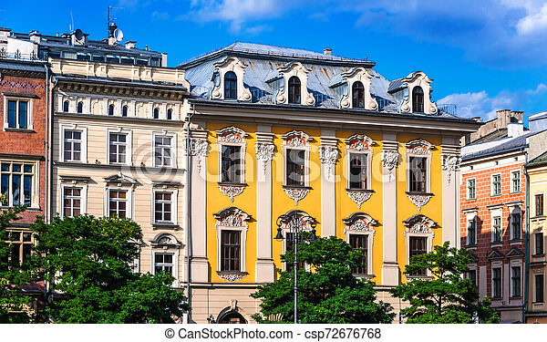 Historic architecture of the old town in Krakow, Poland - csp72676768