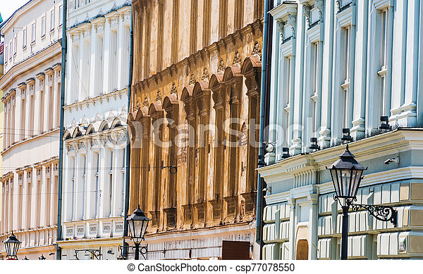 Historic architecture of the old town in Krakow, Poland - csp77078550