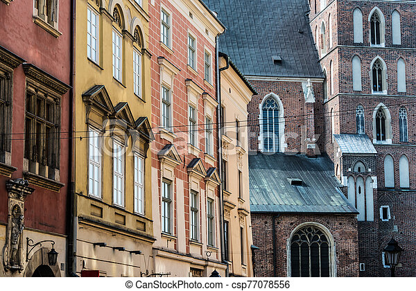 Historic architecture of the old town in Krakow, Poland - csp77078556