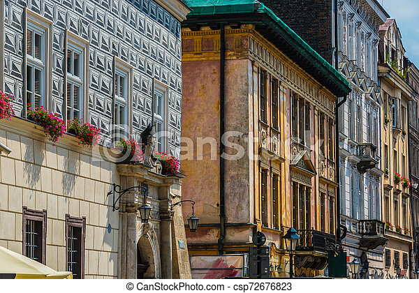 Historic architecture of the old town in Krakow, Poland - csp72676823