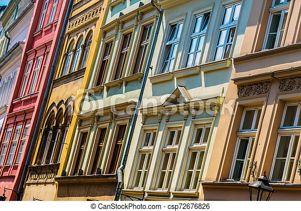 Historic architecture of the old town in Krakow, Poland - csp72676826