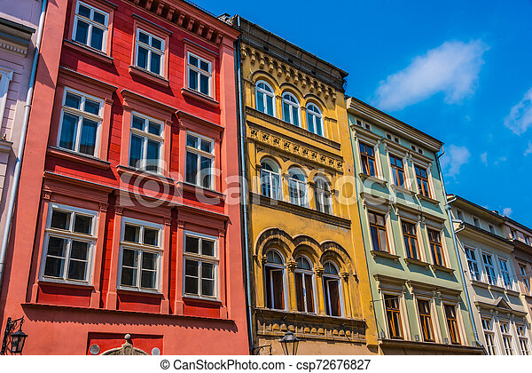 Historic architecture of the old town in Krakow, Poland - csp72676827