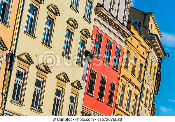 Historic architecture of the old town in Krakow, Poland - csp72676828