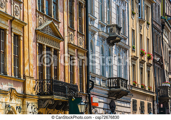 Historic architecture of the old town in Krakow, Poland - csp72676830
