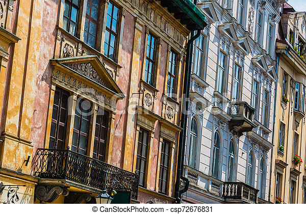 Historic architecture of the old town in Krakow, Poland - csp72676831