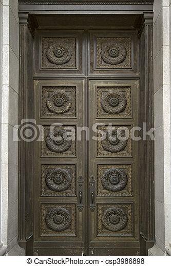 Historic Building Bronze Door - csp3986898