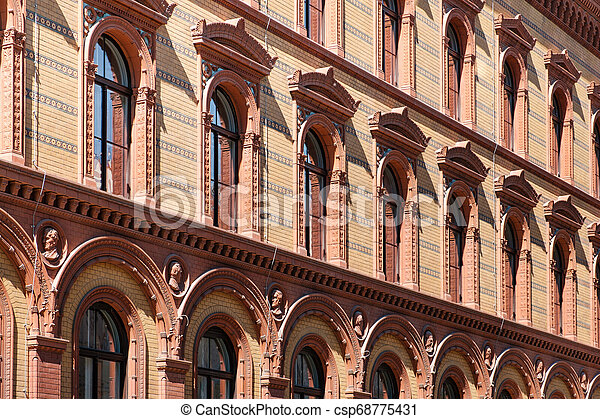 historic building facade, historical exterior of the Postfuhramt, Berlin - csp68775431