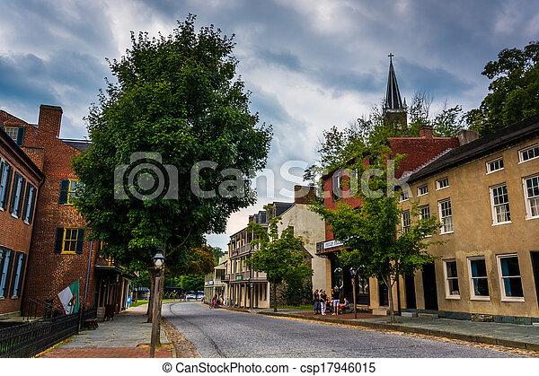 Historic buildings along Shenandoah Street in Harper's Ferry, West Virginia. - csp17946015