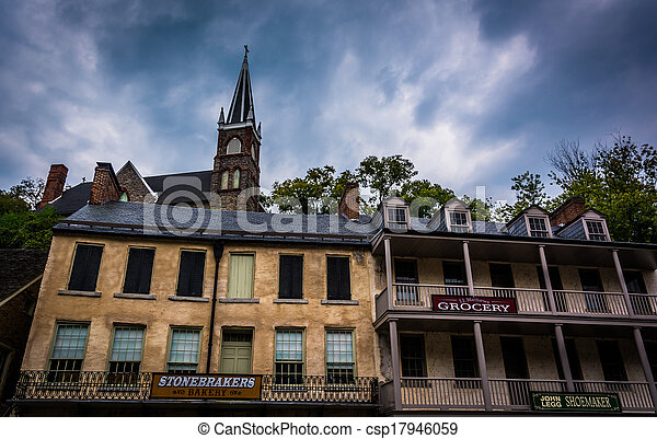 Historic buildings and St. Peter's Roman Catholic Church in Harper's Ferry, West Virginia. - csp17946059