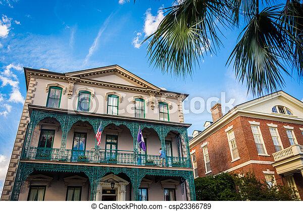 Historic buildings in downtown Charleston, South Carolina. - csp23366789