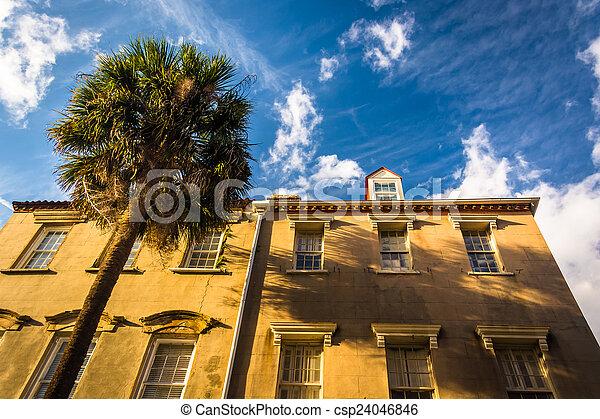 Historic buildings in downtown Charleston, South Carolina. - csp24046846