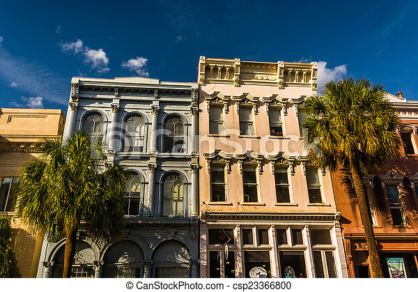 Historic buildings in downtown Charleston, South Carolina. - csp23366800