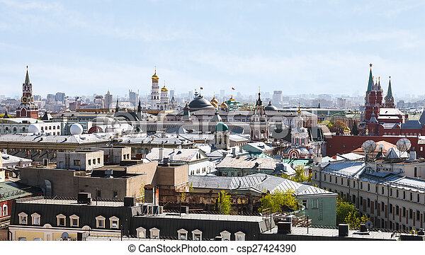 historic center of Moscow city with Kremlin - csp27424390