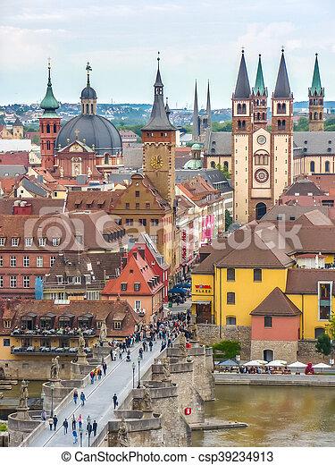 Historic city of Wurzburg, Franconia, Bavaria, Germany - csp39234913