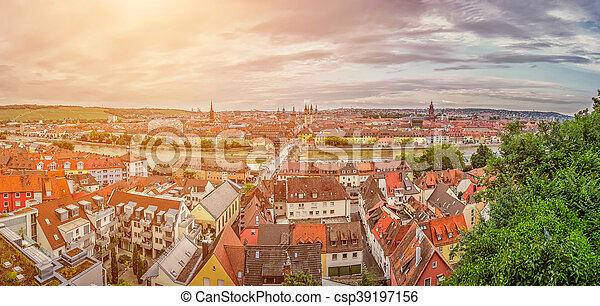 Historic city of Wurzburg, Franconia, Bavaria, Germany - csp39197156