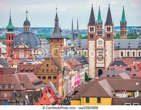 Historic city of Wurzburg, Franconia, Bavaria, Germany - csp33924896