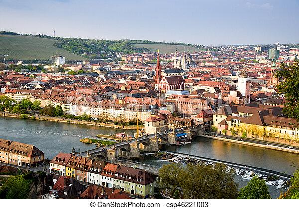 Historic city of Wurzburg with bridge Alte Mainbrucke, Germany. - csp46221003