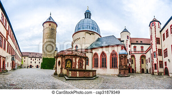 Historic courtyard of famous fortress Marienberg in Wurzburg, Bavaria, Germany - csp31879349