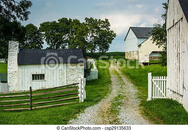 Historic farm buildings at Antietam National Battlefield, Maryland. - csp29135633