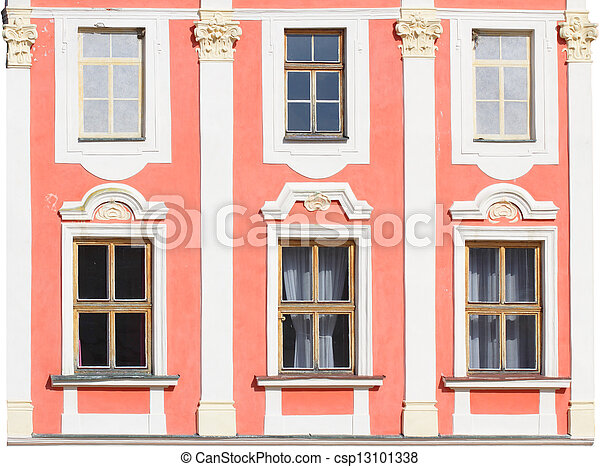 Historic house facade on a white background - csp13101338