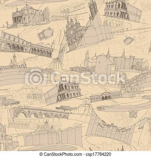 Historic Italian Architecture Collage seamless pattern - csp17784220
