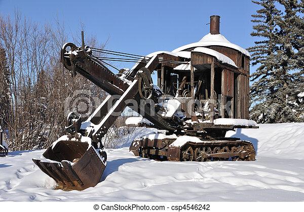 Historic Mining Steam Shovel in Alaska - csp4546242
