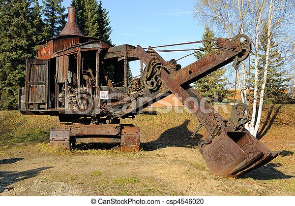 Historic Mining Steam Shovel in Alaska - csp4546020