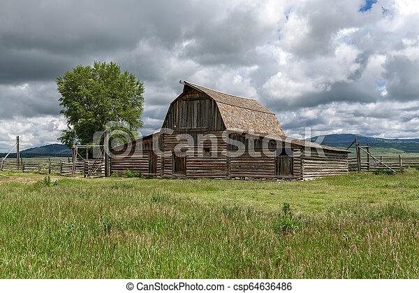 Historic Moulton Barn in Grand Teton National Park, Wyoming, USA - csp64636486