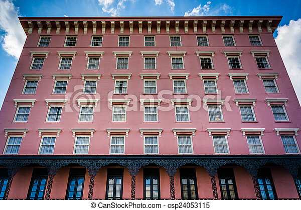 Historic pink building in Charleston, South Carolina. - csp24053115