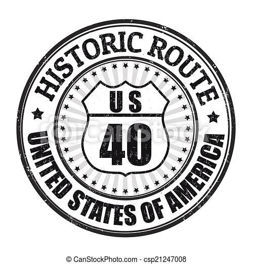 Historic Route 40 stamp - csp21247008