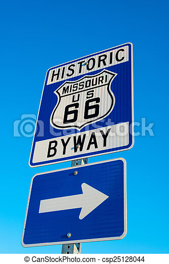 Historic Route 66 Road sign - csp25128044