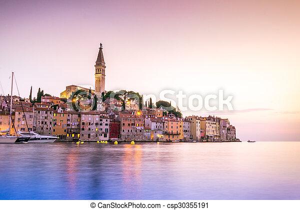 Historic Rovinj during sunset, Croatia - csp30355191