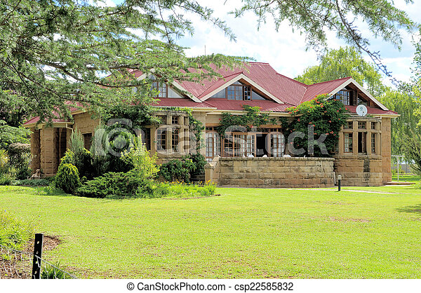 Historic sandstone rectory, Clarens, South Africa - csp22585832