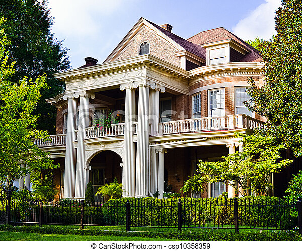 Historic Southern house with Greek revival architecture - csp10358359
