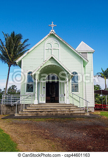 Historic Star of the Sea Painted Church in Hilo Hawaii - csp44601163