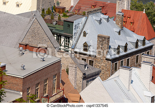 Historic stone building roofs Quebec City Canada - csp41337545