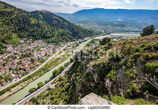 Historic town, Berat, Albania, high view landscape - csp62434980