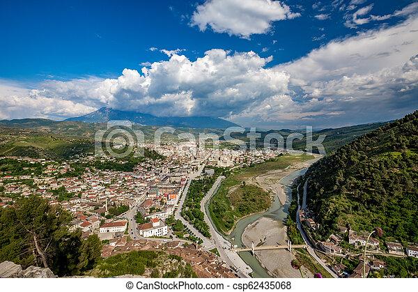 Historic town, Berat, Albania, high view landscape - csp62435068