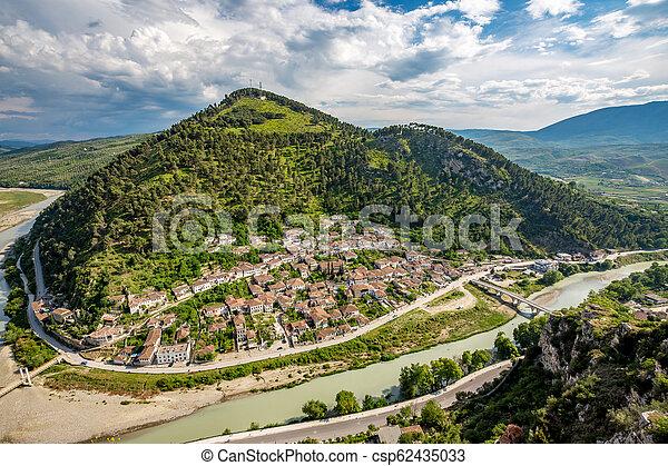 Historic town, Berat, Albania, high view landscape - csp62435033