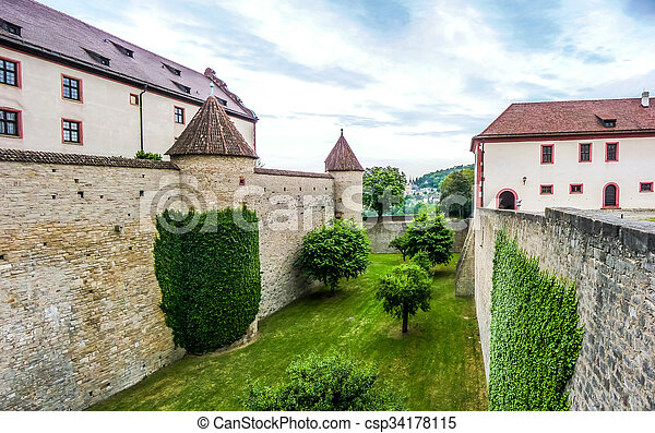 Historic walls of famous fortress Marienberg in Wurzburg, Bavaria, Germany - csp34178115