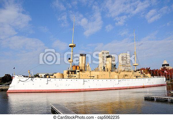 Historic Warship U.S.S Olympia at Philadelphia waterfront - csp5062235