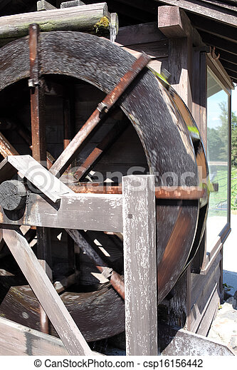 historic wooden water mill  - csp16156442