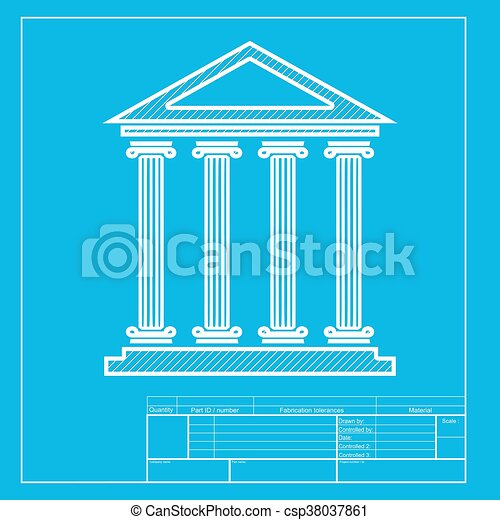 Historical building illustration white section of icon on clip white section of icon on blueprint template malvernweather Images