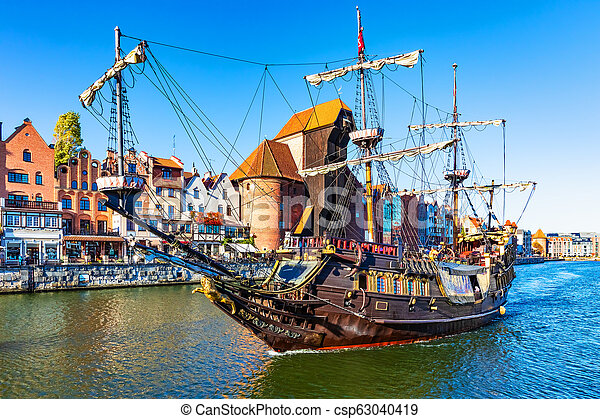 Historical ship in the Old Town of Gdansk, Poland - csp63040419
