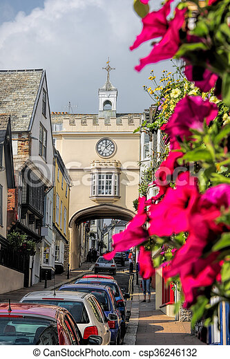Historical Totnes in Devon, England, UK - csp36246132