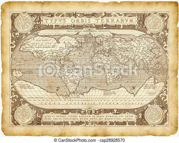 1587 World Map.Historical World Map Parchment Historical World Worn Map Typus