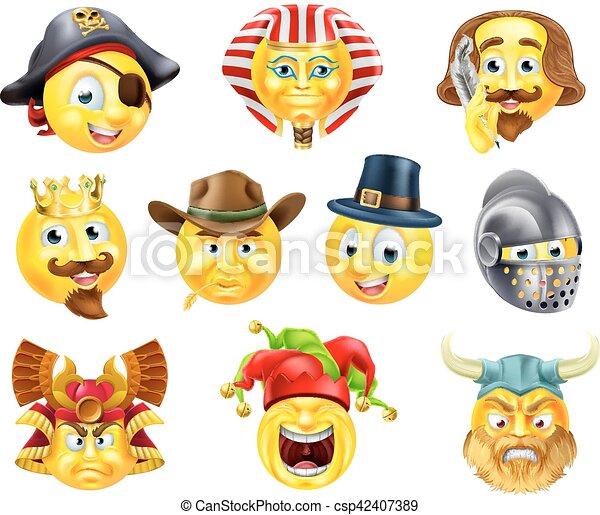 History Emoji Emoticon Set - csp42407389